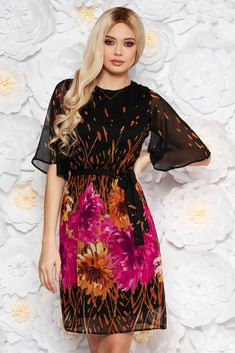 StarShinerS brown elegant daily voile fabric dress with floral prints, accessorized with tied waistband, inside lining, floral prints, long sleeves, voile fabric