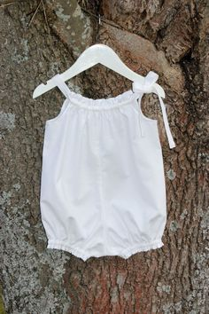 $15 Baby Girl Romper GOTS fabric White Pink or by SigridandHelmer