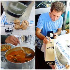 """O legendário """"shaper"""" californiano  Malcom Campbell celebra o seu aniversário em Portugal. À mesa não faltou Espumante #Soalheiro Bruto, massada de peixe, amizade e boa disposição.  The legendary californian shaper/surfer Malcolm Campbell celebrates is birthday in Portugal. The dinner included #Soalheiro Bruto (sparkling wine), """"massada de peixe"""" (a sort of soup with fish, pasta, coriander,…), friendship and good mood.  http://www.liquidsaltmag.com/2013/03/malcolm-campbell/"""