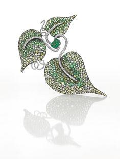 An important emerald, diamond and gem-set leaf brooch, by JAR
