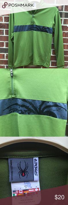 💖 Spyder Green Gray 1/4 Pull Zip Shirt S Spyder Green Gray 1/4 Pull Zip Shirt S Spyder Shirts