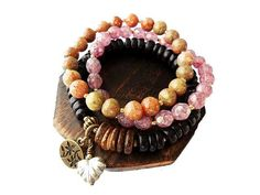 Whimsical Hippie Stretch Bracelet Set, Picasso Glass, Wood, Stone, $32.00 by Mary Grace Jewellery