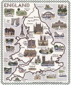 Map Of England Cross Stitch Kit....... SHUT THE FRONT DOOR!!!!!!!