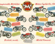 Classic Matchless Motorcycle Poster reproduced from the original 1960 range brochure