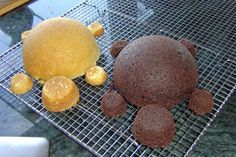 Creating The Turtle Cakes From A Ball Cake Pan Large Muffins And Mini