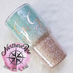 Teal and Rose Gold Ombre Glitter Tumbler - Glitter Tumbler - Ombre Tumbler - Ombre Glitter Tumbler - Personalized Yeti - Glitter Yeti - Yeti Diy Tumblers, Custom Tumblers, Glitter Tumblers, Monogram Tumblers, Monogram Cups, Glitter Cups, Gold Glitter, Glitter Glasses, Glitter Face