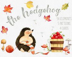 Fall clipart Hedgehog clipart Autumn clipart fall leaves