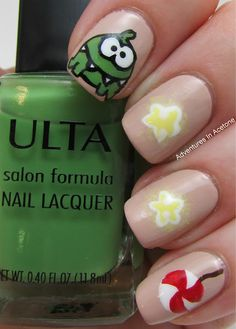 Cut the Rope Nail art by Adventures In Acetone