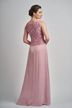 5e3de313e78 M210006 Chelsea Lace   Jade Chiffon MOB Dress with Scoop Neckline