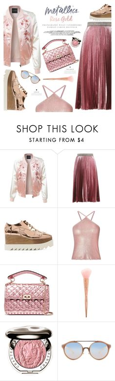 """Metallic Rose gold"" by einn-enna ❤ liked on Polyvore featuring LE3NO, Christopher Kane, STELLA McCARTNEY, Miss Selfridge, Kerr®, Valentino, Forever 21, Chantecaille, Tory Burch and metallic"