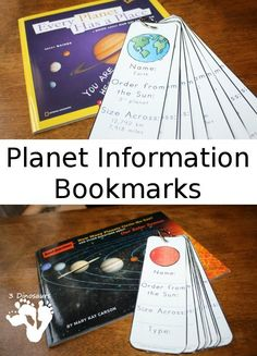 Free Planet Information Bookmarks with the sun, 8 planets and Pluto - two types to pick from - http://3Dinosaurs.com