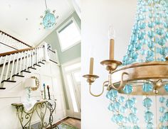 LOVE the chandelier...from laylagrace.com  What a statement piece!  and Silver Sage on the wall!