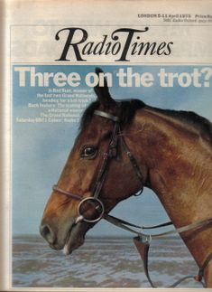 Red Rum on the cover of Radio Times preparing for his third win in the Grand National of 1975