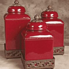 Red Tuscan Style Canisters You Could Add Some Canisters Like This In Kitchen Decor