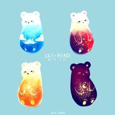 Sky Bears. They are now available as prints!  PRINT SHOP Kawaii Drawings, Cute Bear Drawings, Cute Drawings Tumblr, Art Drawings, Doodle Doodle, Photo Doodle, Doodle Bear, Random Doodles, Cute Doodles