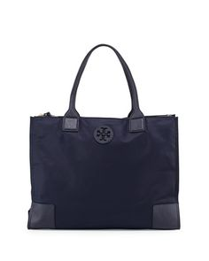 Ella Packable Nylon Tote Bag, Tory Navy by Tory Burch at Neiman Marcus.