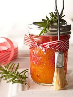 Holiday Peppery Peach Sauce This sweet and spicy sauce for meat makes a yummy Christmas gift. Wrap a jar with ribbon and present with a basting brush.