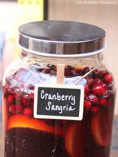 Easy Mock Cranberry Sangria Holiday Cocktail - Perfect for Thanksgiving!