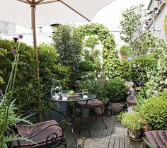 Une terrasse urbaine verdoyante