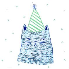 Cat in the birthday hat ✨it's not even his birthday ✨ ~ Holly Walsh Birthday Greetings Friend, Guache, Cat Cards, Cute Illustration, Holly Walsh, Cute Art, Art Inspo, Pop Art, Art Projects