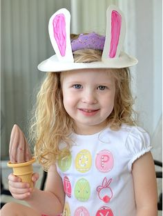 A super fun idea for paper plate Easter bunny ears and frozen TruMoo Chocolate Milk!