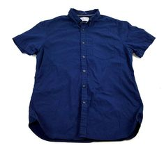 6e0f6780087 Denim and Flower Mens Short Sleeve Button Down Shirt Slim Fit Size M Blue   DenimFlower