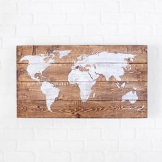 Map Wall Art- Wood- World Map- 25x14''