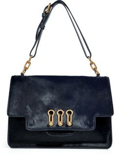 The ultimate accessory for ladylike looks, this silky haircalf shoulder bag  from Sonia Rykiel features a rich navy hue and contemporary gilded hardware 8a10aa1dfc