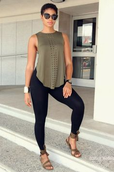 Cute legging outfits for summer endless top sandals leggings fashion look by . Mode Outfits, Office Outfits, Chic Outfits, Spring Outfits, Trendy Outfits, Fashion Outfits, Womens Fashion, School Outfits, Airport Outfits