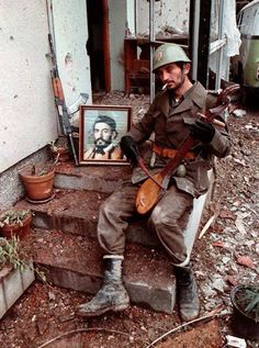 Serbian soldier during war in Bosnia.