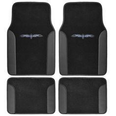 BDK A Set of 4 Universal Fit Plush Carpet with Vinyl Trim Floor Mats For Cars Truck SUV - Universal Fit (Black)