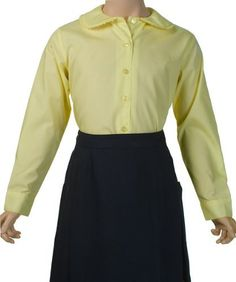 French Toast Long Sleeve Peter Pan Blouse With Lace Trim Collar (Sizes 7-20) - yellow, 10 French Toast. $6.99