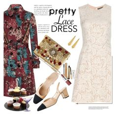 """Pretty Lace Dress"" by janephoto ❤ liked on Polyvore featuring Alexander McQueen, Burberry, Dolce&Gabbana, Panacea, Yves Saint Laurent, Clinique, Just Slate Company, Waterford and lacedress"