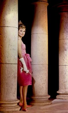 Audrey Hepburn in Breakfast at Tiffanys in Givenchy Iconic Pink Dress