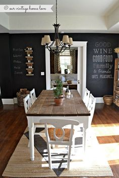I NEED a chalkboard wall somewhere! our vintage home love: Chalkboard Wall - black white and natural dining room farmhouse table Style At Home, Sweet Home, Dining Room Inspiration, Dining Room Design, Dining Rooms, Dining Tables, Dining Area, Farmhouse Dinning Room Table, White Farmhouse Table