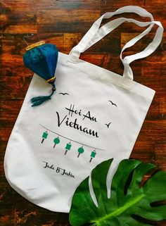 Wedding favors - wedding tote bag designed and printed in tropical theme Rustic Wedding, Our Wedding, Destination Wedding, Welcome Bags, Hoi An, Wedding Favours, Wedding Designs, Favors, Reusable Tote Bags