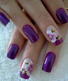 16 Fabulous Purple Nail Designs to Try: #3. Floral Purple Nail Art