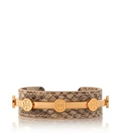 Tory Burch Natural Snake Leather Logo Cuff