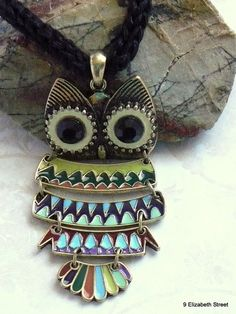 Give a Hoot Owl pendant on knitted cord by 9ElizabethStreet, $15.50