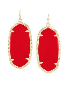 Elle Earrings in Bright Red - Complimenting the bright red stones in the Kendra Scott Aurora collection, these bright stones really pop in golden oval frames.