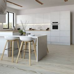A little color is no bad thing, but for a truly timeless and classic kitchen design, you need to give some consideration to an all-white aesthetic. Swedish Kitchen, Scandinavian Kitchen, New Kitchen, Brown Kitchens, Home Kitchens, Kitchen Interior, Kitchen Decor, U Shaped Kitchen, Luxury Kitchen Design