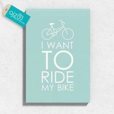 Obraz na płótnie miętowy rower 80x120 cm