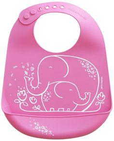 Silicone Pink Elephant Bucket Bib