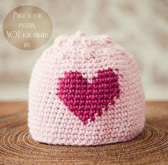 d8f988e0677ff3 Crochet hat PATTERN pdf file Heart and Bobble by monpetitviolon, $4.99