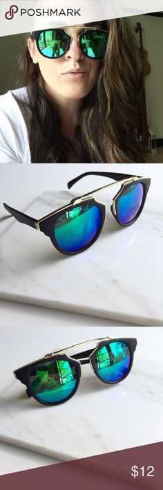 "NWT || So Real Black Retro Cat Eye Sunglasses So cute, so fun. Get the So Real look without the price. Black Matte frames with blue green mirrored lenses and gold metal accents and brow bar. 100% UV protection. 5.8"" W x 2.1"" H. Available 4 other colors. Price is firm unless bundled. Bundle 4 or more and save 20%. Accessories Sunglasses"