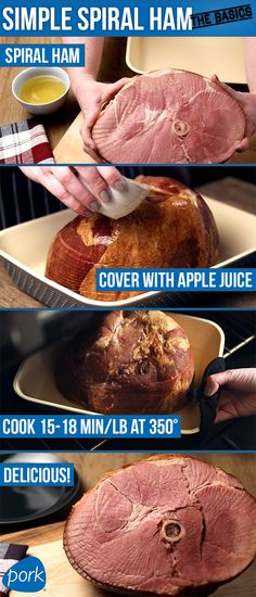 Cooking a spiral-sliced ham is literally as easy as a few steps, and it is the perfect dish for a large gathering. Don't stop there though! Ham is practical all week long. Breakfast, lunch, dinner or snack, holiday or everyday, ham does it all.  [Click pin to watch video.]
