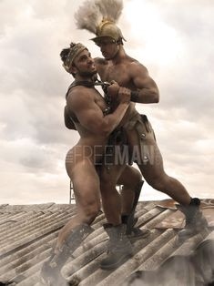 Rogan Richards and Jonathan Best - by Paul Freeman Roman Gladiators, Paul Freeman, Roman Warriors, Man Of War, Fantasy Warrior, Male Poses, Gay Art, Muscle Men, Academia