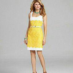 Antonio Melani Yellow Embroidered Dress