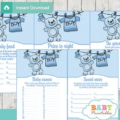 Printable Blue Clothesline with blue baby clothing and the cutest teddy bear fun games package. #babyprintables