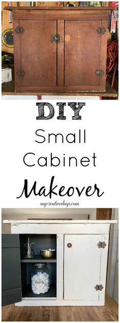 Small cabinets are perfect storage for many things and many spaces. This small cabinet makeover was easy to do with only a few supplies. Diy Furniture Easy, Diy Furniture Projects, Recycled Furniture, Easy Diy Projects, Furniture Makeover, Side Table Makeover, Interior Design Guide, Garage Sale Finds, Diy Ideas